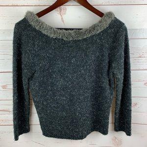 Easel   Black Silver Faux Fur Collar Sweater